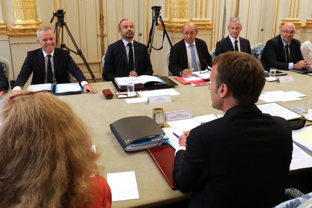 Emmanuel Macron pendant le Conseil des ministres du 5 septembre 2018 à l'Elysée, à Paris. (Ludovic MARIN / AFP)