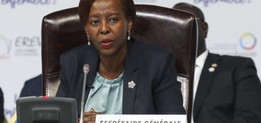Newly elected Secretary General of the International Organisation of French-speaking countries (OIF), Rwandan Foreign Minister Louise Mushikiwabo attends the 17th Francophone countries summit in Yerevan on October 12, 2018. (Photo by LUDOVIC MARIN / AFP)