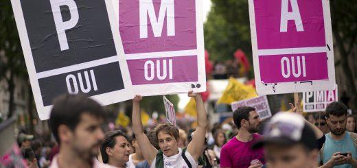 Manifestation pour la PMA en France durant la Gay Pride de 2013 à Paris.  LIONEL BONAVENTURE / AFP