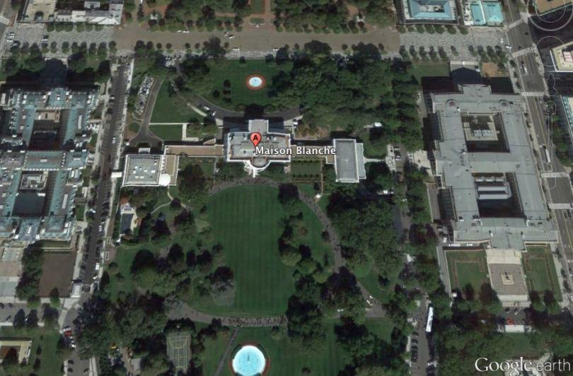 La maison Blanche vue de Google Earth